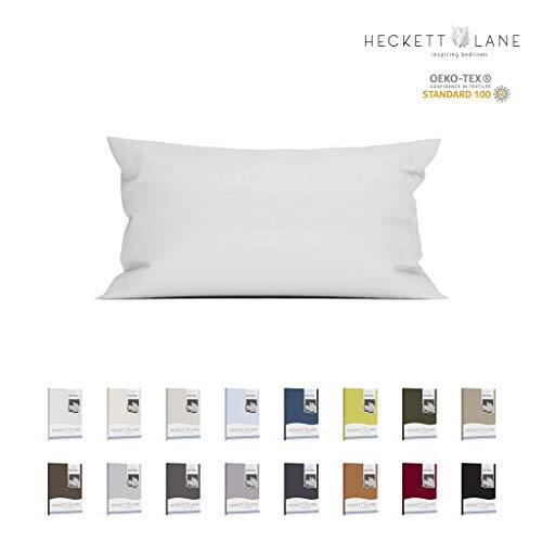 Heckett & Lane PERKAL-Kissenbezüge in vielen Größen und Farben 100% Baumwolle | 40 x 80 cm Weiß Uni -