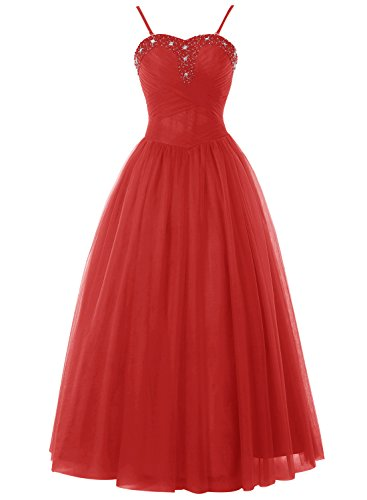Bbonlinedress Robe de cérémonie en tulle bretelles spaghetti longueur ras du sol Rouge