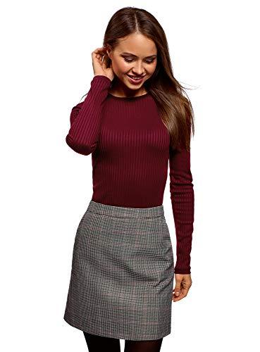 oodji Ultra Damen Gerippter Pullover mit Rundhalsausschnitt, Rot, DE 40 / EU 42 / L - Rot Gerippt Pullover