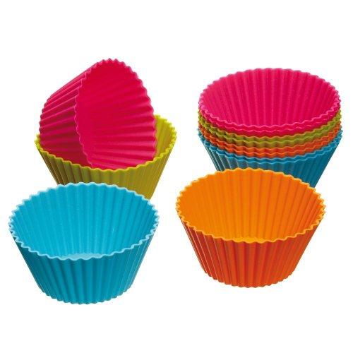 12 PCS Cake Cup, Kitchen Craft Silikon wiederverwendbar Cupcake Fällen, Muffin Cupcake Backförmchen, Schokolade Gebäck Bakeware Maker Form Silikonform für Kuchen dekorieren Tools (Schokolade Orange Peel)