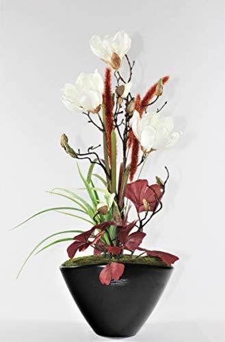 Liatris Floristik Magnolie mit weißen Blüten, hochwertiges Kunstblumen-Gesteck im stilvollen Topf in Schwarz, Seidenblume wie echt, Moderne Dekoration 60 cm groß
