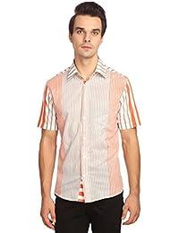 Reevolution Men's Self Design Orange Cotton Shirt (MPHS310314)