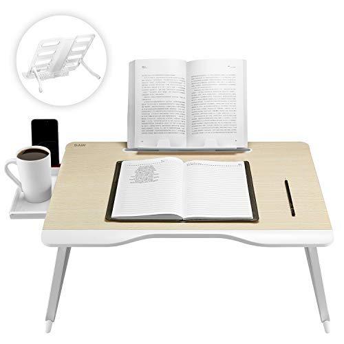 Saiji Multifunktionaler Laptop-Tisch, mit Handauflage Bücherständer, Tablet-Ständer, Telefonständer, Schublade, Getränkehalter, für Bett Sofa, Couch Teppich Boden (Eiche) -