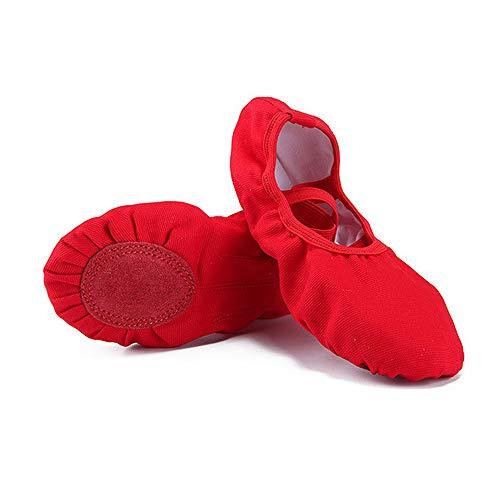 DULEE Kinder Mädchen und Damen Ballettschuhe Ballettschläppchen Geteilte Ledersohle Tanzschuhe Gymnastikschuhe Yoga Schuhe,Rot 34 - Rote Ballettschuhe