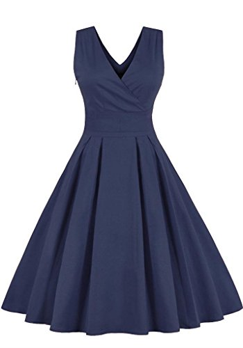 ge Retro Rockabilly Kleid Sommerkleid Partykleid Cocktailkleid Knielang Dunkel Blau 4XL ()