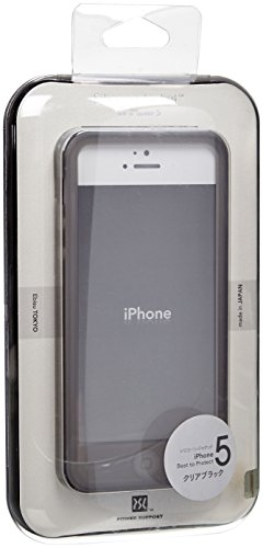 Power Support Silicone Jacket Clear Black Smoke for iPhone 5 (includes 1 HD Anti Glare + 1 AFP Crystal Screen Film) (Film Screen Smoke)