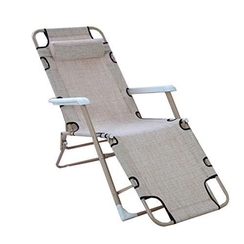 Bed -Chairs Klappsessel Büro Verstellbare Schwangere Lunch Rest Chair Strandkorb Tragbare Haushalt Hälfte Liegen Erweitern multifunktionale Siesta Stuhl Beige mit Stoffsitz,a
