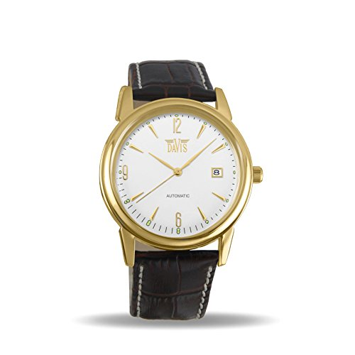 Davis 1903 - Mens Automatic Watch Retro Yellow Gold Case Steel Dial Date Brown Leather Strap