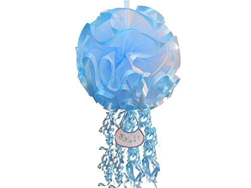 Fiocco nascita coccarda sfera extra gigante azzurro