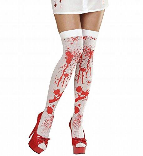Krankenschwester Halloween Kostüme Amazon (Widmann 01296 - halterlose Strümpfe blutverschmiert, 70 DEN,)
