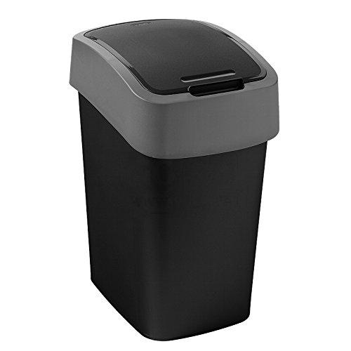 """Curver 02170-Y09-00 Mehrzweck-Abfallbehälter """"Flip"""" 10 L, Plastik, schwarz / grau, 19 x 24 x 35 cm"""