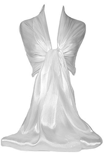 GFM® Marken Schal schimmernd, irisierend, Stola, ideal für Abend, Hochzeit, Partys, Brautjungfern, Bridal Wear oder Braut oder Ball Proms Gr. Large, White (LPSFD-00) L:200cm