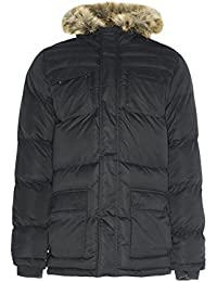 Mens Jacket Brave Soul Coat Padded Bubble Quilted Mesh Hoodie Lined Winter New