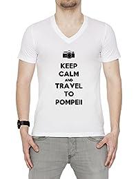 Keep Calm And Travel To Pompeii Hombre Camiseta V-Cuello Blanco Algodón Manga Corta Men's T-Shirt V-Neck White