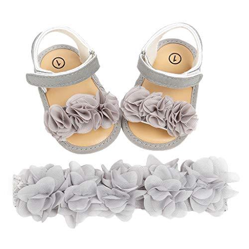UOMOGO 2 Pezzi Neonata Scarpe + Fascia, Bambino Fiore Scarpe Anti Scivolo Morbido Occasioni Speciali Battesimo per la Festa Nuziale Scarpe
