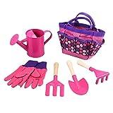Toyvian Outils de Jardinage Jouet de Jardinage en Plein air avec Sac de Transport Portable Petite Trousse d'outils de Plantation Cadeau pour Enfants (Bleu) (Pink)