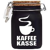 Kaffee-Kasse XXL-Spardose mit Vorhängeschloss in Weiss/Geld-Geschenk Idee XXL Sparbüchse Glas...