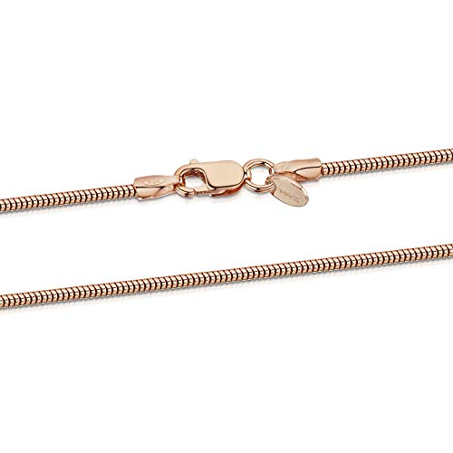 Amberta 925 Sterlingsilber Roségold 14K Damen-Halskette - Schlangenkette - Rattenschwanz-Kette - 1.4 mm Breite - Verschiedene Längen: 40 45 50 55 60 cm (45cm)
