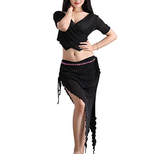 tanz Auchtanz-Kostüm Einfarbig Weibliche Erwachsene Spliss Öffnungs Long Irregulär Rock (Schwarz, Asien M) ()