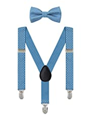 Idea Regalo - Irypulse Bretelle Pois da 6 Mesi-5 Anni Bambino Ragazzi Ragazze 3 Clip Y Forma Larghezza 2,5 cm Regolabile Elastica Blu chiaro