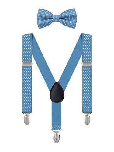 Irypulse bretelle pois da 6 mesi-5 anni bambino ragazzi ragazze 3 clip y forma larghezza 2,5 cm regolabile elastica blu chiaro