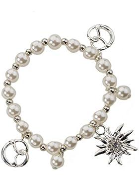Charm Armband Edelweiss und Brezel - flexible und elegante Trachten Perlenkette mit Charm Anhänger - Armkette...