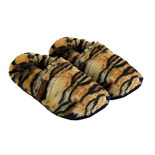 Thermo Sox aufheizbare Hausschuhe für Mikrowelle und Ofen - Mikrowellenhausschuhe Wärmepantoffeln Wärmehausschuhe Wärmeschuhe Fußwärmer Supersoft, Farbe:Tiger, Größe:36/40 EU - Mikrowelle Orange