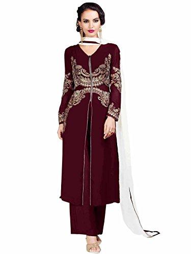Kanchnar Women's Georgette Embroidered Maroon Party Wear Salwar Suit