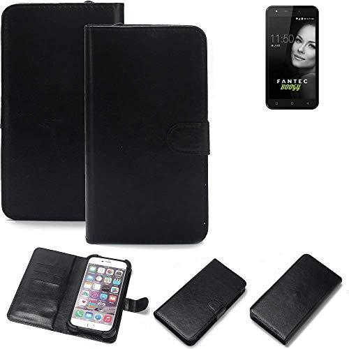 K-S-Trade® 360° Wallet Case Handyhülle Für FANTEC Boogy Schutz Hülle Smartphone Flip Cover Flipstyle Tasche Schutzhülle Flipcover Slim Bumper Schwarz, 1x