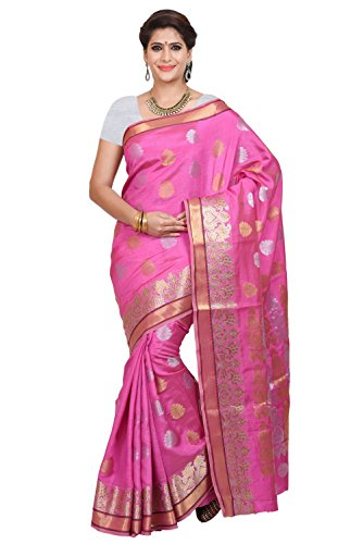 Mimosa Women's Traditional Tussar Silk Saree Kanjivaram Style With Blouse Color:Pink(3352-2043-SL-PINK )  available at amazon for Rs.1199