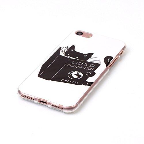 BONROY® Coque pour iPhone 7 Plus (5,5 Zoll),Housse en cuir pour iPhone 7 Plus (5,5 Zoll),imprimé étui en cuir PU Cuir Flip Magnétique Portefeuille Etui Housse de Protection Coque Étui Case Cover avec  world domination fou cats