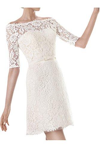 Ivydressing Damen U-Ausschnitt Halb-Aermel Kurz Abendkleid Brautkleid Hochzeitskleid-40-A