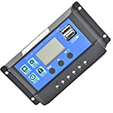 Boburyl 20A 12V-24V Digital Display Solar Panel Regler Laderegler USB 4-Stufen-Management-PWM Gebühren