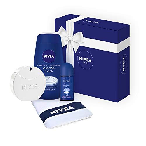 Geschenkset für Damen mit NIVEA Eau de Toilette Pflege-Duft in Parfum-Flakon (1 x 30 ml), Creme Care Duschgel, Protect & Care Roll-On Deo und Gäste-Handtuch (Eau De Toilette Parfum Frauen)