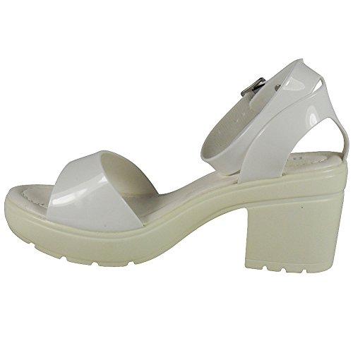 Loudlook Nouveau Femmes Mesdames Brevet Bretelles Milieu De L'¨¦t¨¦ Mode De Talon Chaussures Sandales Taille 3-8 white