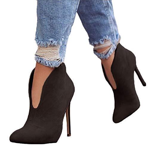 Minetom stivaletti donna con tacco inverno stivali caviglia eleganti camoscio scarpe invernali autunno boots platform zip high heels marrone eu 36