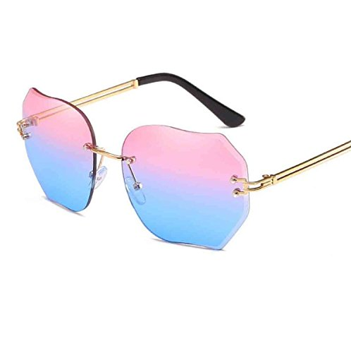 Sonnenbrille Für Frauen Übergroße Randlose Diamant-Schneidscheibe Klassische Brillen Farbverlauf Reise Sonnenbrillen Aviator Spiegel Objektiv,4-OneSize