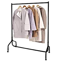 EZVOV Heavy Duty Clothes Rail 4ft on Wheels Metal Clothes Rack Garment Rail Garment Hanging Display Clothing Tidy Rail for Bedroom, Black