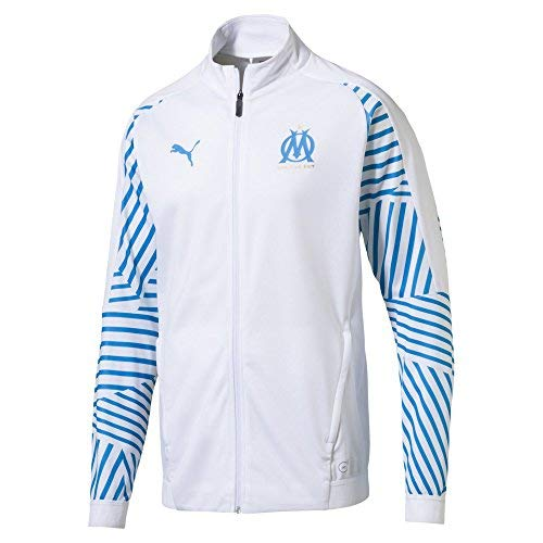 Puma Olympique de Marseille Stadium Jacket Without Sponsor Logo Veste Homme, White/Bleu Azur, FR : S (Taille Fabricant : S)