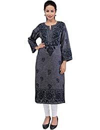 BDS Chikan Khadi Cotton Black Colour Lucknow Chikankari kurti For Woman - BDS00847
