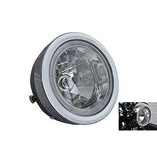 Black Motorbike Headlight with LED Halo Ring 6.5 inch dia. 12V 35W