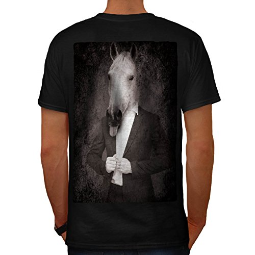 Pferd Anzug Krawatte Cool Komisch Pferd Gesicht Herren M T-shirt Zurück | (Cyclops Anzug)