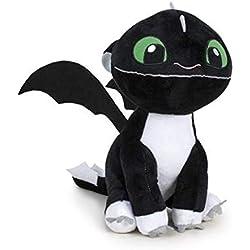 """HTTYD Dragons, como Entrenar a tu dragón - Peluche Bebe Dragon Negro de Ojos Verdes 10""""/26cm Calidad Super Soft (760017685)"""