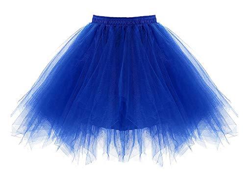 0er Jahre Kostüme Ballet Tüllrock Karneval Petticoat Neon Farben Königsblau ()
