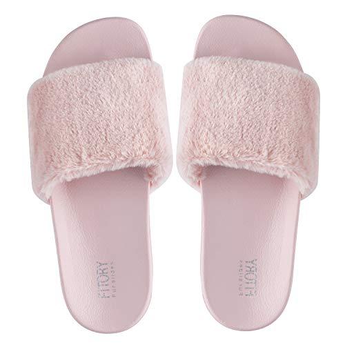FITORY Damen Hausschuhe Plüsch Süße Weiche Indoor/Outdoor Pantoffeln mit Pelz rutschfeste, Pink, Gr.- 40-42 EU/ Herstellergröße- 9-10