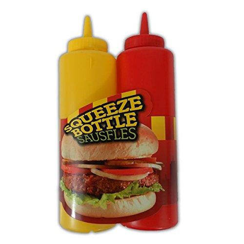 Quetschflaschen 400ml 2Stück Ketchup Senf Spender rot gelb Saucenflasche Spenderflasche