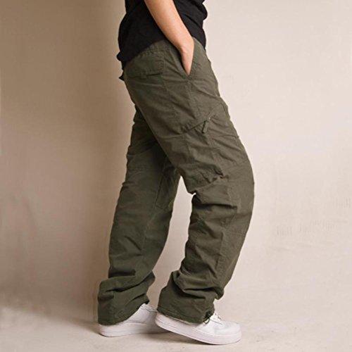 Voguehive -  Pantaloni  - Straight  - Basic - Uomo Verde militare