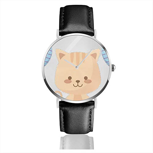 Business Analog Watches,Cute Cat with Balloons Helium Classic Stainless Steel Quartz Waterproof Wrist Watch with Leather Strap