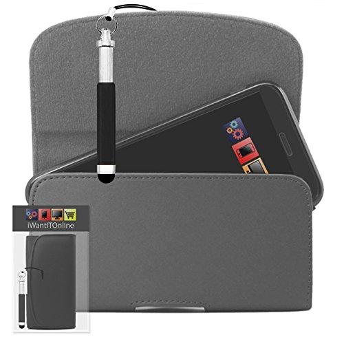 IWIO Grau PU Seitentasche aus Leder Abdeckung Holster mit Gürtelschlaufe Clip und Magnetverschluss Enthält Schwarz Wiederziehbar Tip Stylus Stift für LG Optimus LU6200 LTE
