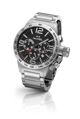 TW Steel Canteen Unisex Quartz Watch with Black Dial Chronograph Display and Grey Stainless Steel Bracelet TW301
